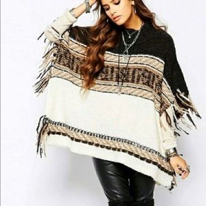 Free People Fringe Pullover Sweater Poncho